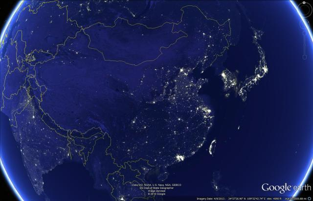 Nighttime lights satellite imagery of China. NOAA/NASA imagery.